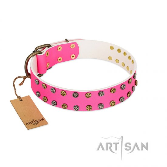 """Blushing Star"" FDT Artisan Pink Leather Newfoundland Collar with Two Rows of Small Studs"
