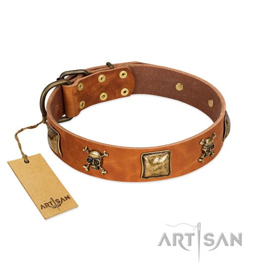 """Knights Templar"" FDT Artisan Tan Leather Newfoundland Collar with Skulls and Crossbones Combined with Squares"