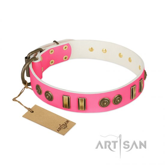 """Pink Amulet"" FDT Artisan Leather Newfoundland Collar with Old Bronze-like Plates and Circles"