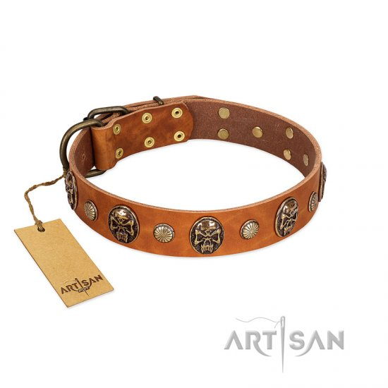 """Call of Feat"" FDT Artisan Tan Leather Newfoundland Collar with Old Bronze-like Studs and Oval Brooches"