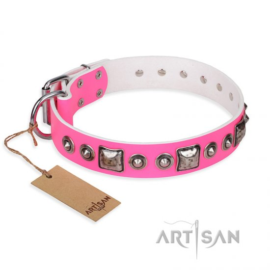 """Pink Dream"" FDT Artisan Leather Newfoundland Collar with Silvery Decorations"