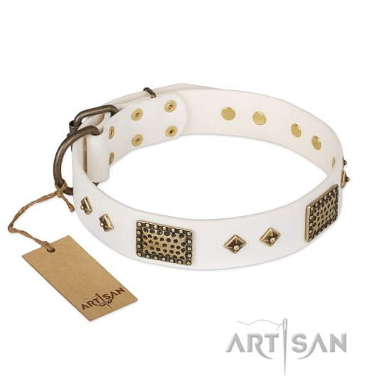 """Snow-covered Gold"" FDT Artisan White Leather Newfoundland Collar"