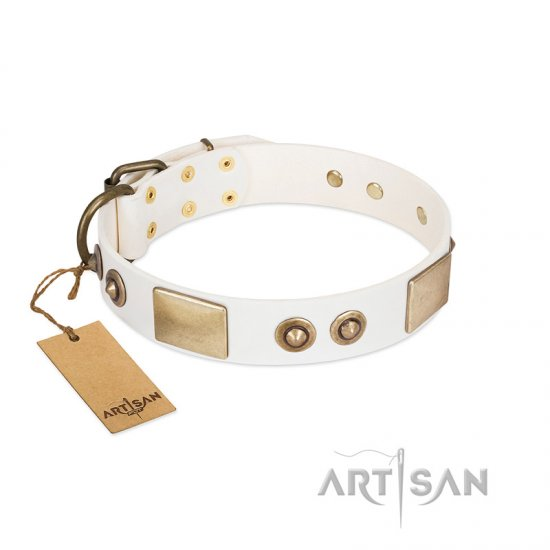 """Noble Impulse"" FDT Artisan White Leather Newfoundland Collar Adorned with Antique Plates and Studs"