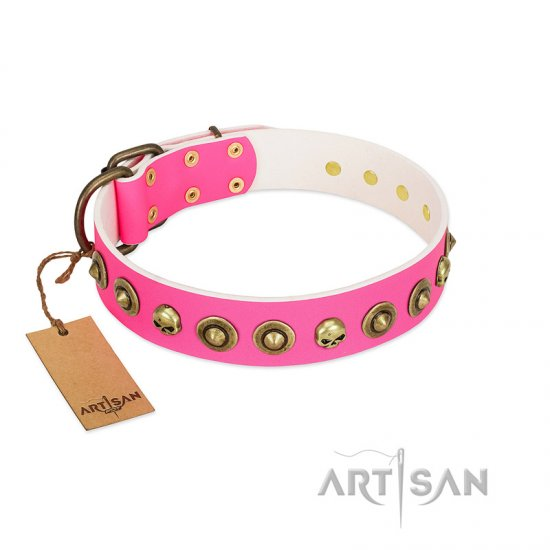 """Pawty Time"" FDT Artisan Pink Leather Newfoundland Collar with Decorative Skulls and Brooches"