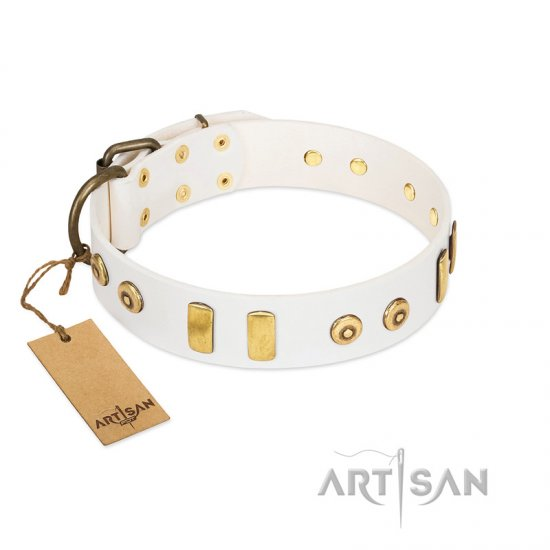 """Golden Union"" Elegant FDT Artisan White Leather Newfoundland Collar with Old Bronze-like Dotted Studs and Tiles"