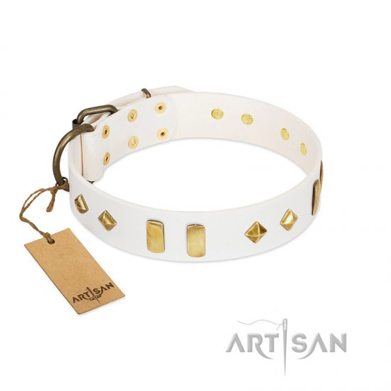 """Hella Cool"" FDT Artisan White Leather Newfoundland Collar Adorned with Plates and Rhombs"
