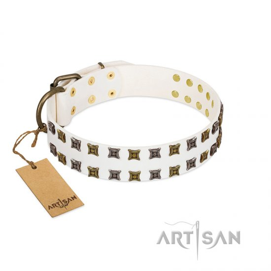 """Ice Peak"" FDT Artisan White Leather Newfoundland Collar with Silvery and Goldish Decorations"