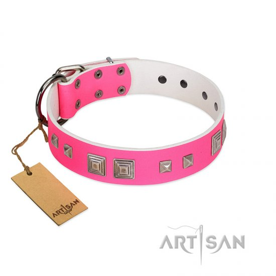 """Rosy Evolution"" Designer Handmade FDT Artisan Pink Leather Newfoundland Collar"