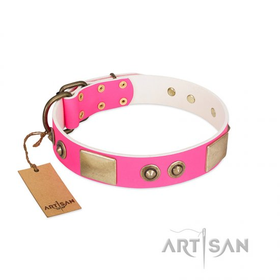 """Pink Splash"" FDT Artisan Soft Leather Newfoundland Collar with Bronze-like Plates and Medallions"