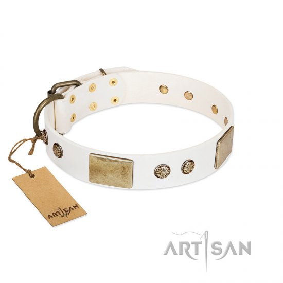"""Pure Elegance "" FDT Artisan White Decorated Leather Newfoundland Collar - 1 1/2 inch (40 mm) wide"
