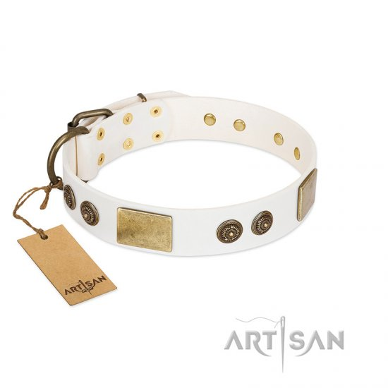 """Sweet Melody"" FDT Artisan White Leather Newfoundland Collar with Plates and Ornamented Studs"
