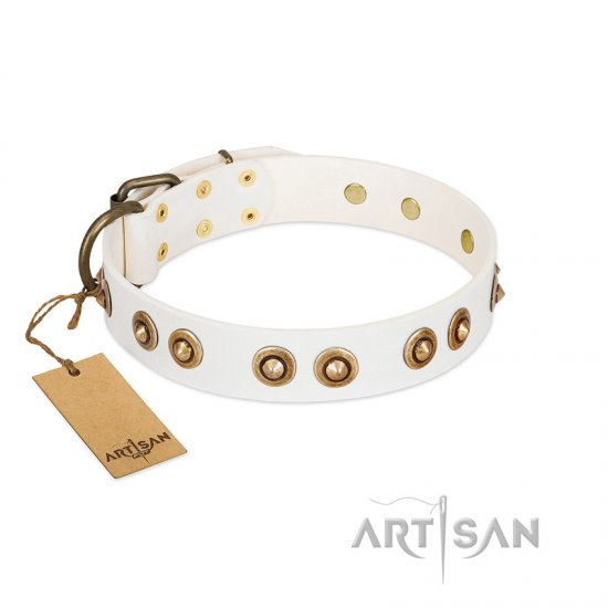 """Moonlit Stroll"" FDT Artisan White Leather Newfoundland Collar with Antique Decorations"
