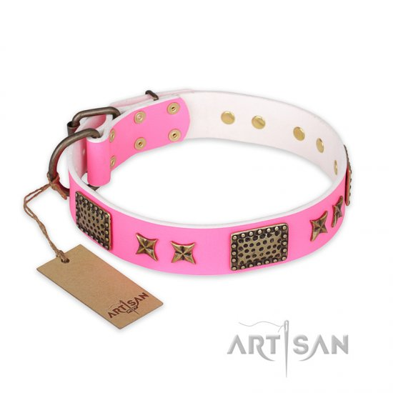 """Tender Pink"" FDT Artisan Leather Newfoundland Collar with Old Bronze Look Stars and Plates"