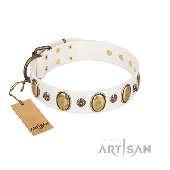 """Nifty Doodad"" FDT Artisan White Leather Newfoundland Collar with Amazing Large Ovals and Small Studs"