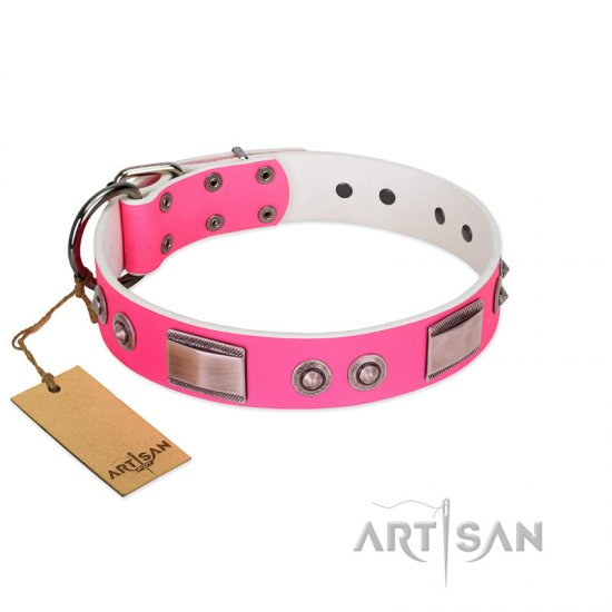 """Lady's Whim"" FDT Artisan Pink Leather Newfoundland Collar with Plates and Spiked Studs"