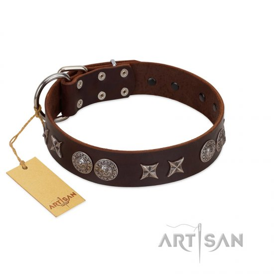 """Antique Style"" Designer Handmade FDT Artisan Brown Leather Newfoundland Collar"