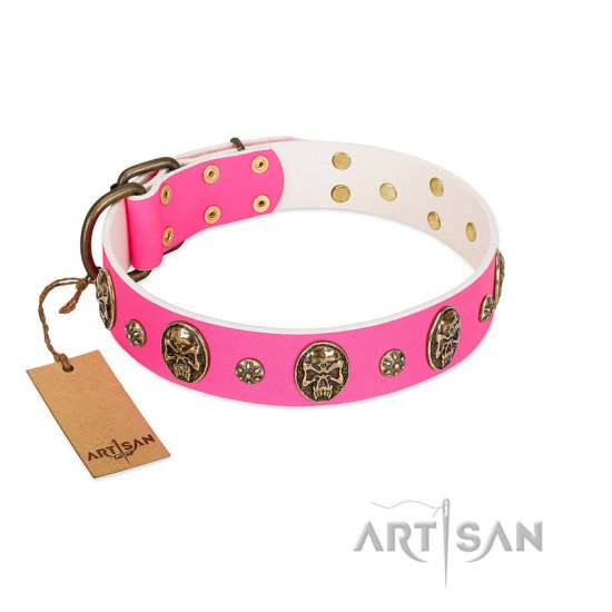"""Fashion Show"" FDT Artisan Pink Leather Newfoundland Collar with Old Bronze-like Skulls and Studs"