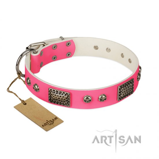 """Fashion Skulls"" FDT Artisan Pink Leather Newfoundland Collar with Old Silver Look Plates and Skulls"