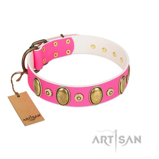 """Drawing Power"" FDT Artisan Pink Leather Newfoundland Collar with Engraved Ovals and Dotted Studs"