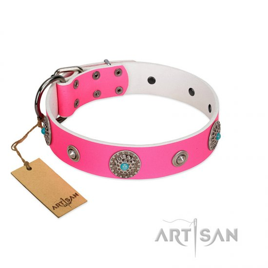 """Chili Mood"" Designer Handmade FDT Artisan Pink Leather Newfoundland Collar"