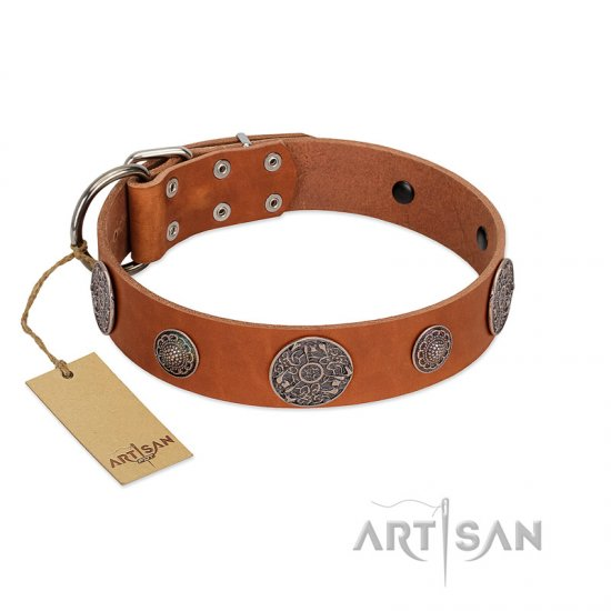 """Foxy Nature"" FDT Artisan Tan Leather Newfoundland Collar with Chrome Plated Brooches"