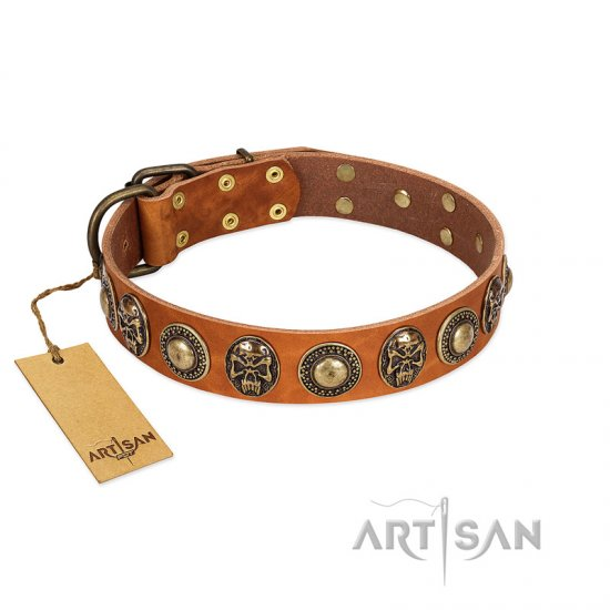 """Golden Epoch"" FDT Artisan Tan Leather Newfoundland Collar with Old Bronze-plated Medallions and Conchos"