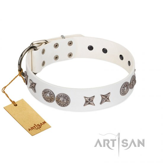 """Seventh Heavens"" FDT Artisan White Leather Newfoundland Collar with Chrome-plated Stars and Engraved Brooches"