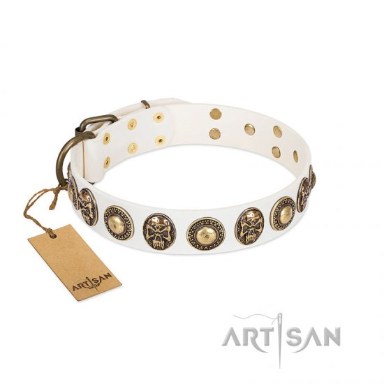 """White Delight"" FDT Artisan White Leather Newfoundland Collar with Exclusive Embelishments"