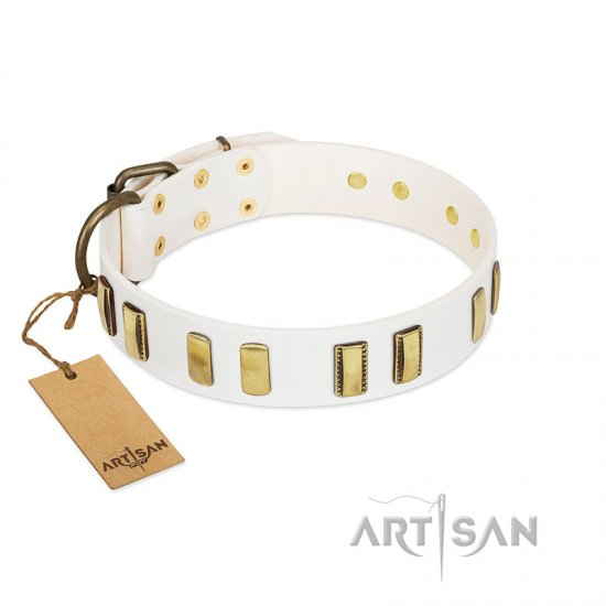 """Glorious Light"" FDT Artisan White Leather Newfoundland Collar with Old Bronze-like Plates"