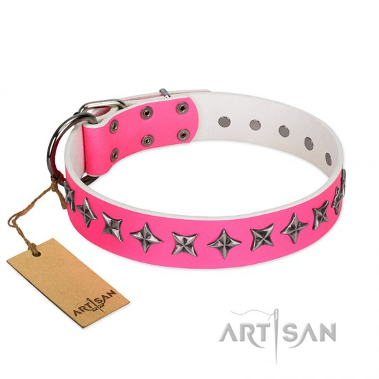 """Star Dreams"" FDT Artisan Pink Leather Newfoundland Collar with Silver-like Stars"