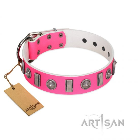 """Treasure Island"" FDT Artisan Pink Leather Newfoundland Collar with Silver-Like Studs - Click Image to Close"