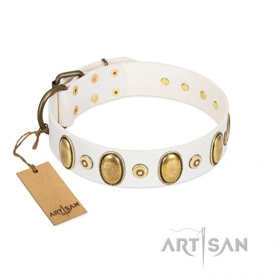 """Pearly Grace"" FDT Artisan White Leather Newfoundland Collar with Engraved Ovals and Small Dotted Studs"
