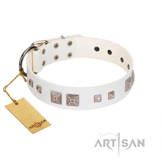 """Pure Quadratic"" Designer Handmade FDT Artisan White Leather Newfoundland Collar"