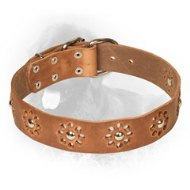 Flower Pattern Leather Newfoundland Collar