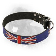 Patriotic Design Leather Newfoundland Collar with UK Flag Painting