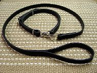 Police Leather Newfoundland Leash and Collar Combo