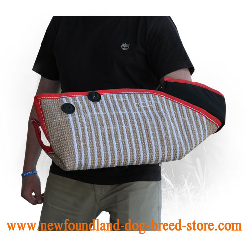 Easily Adjustable Strap on Jute Newfoundland Bite Sleeve