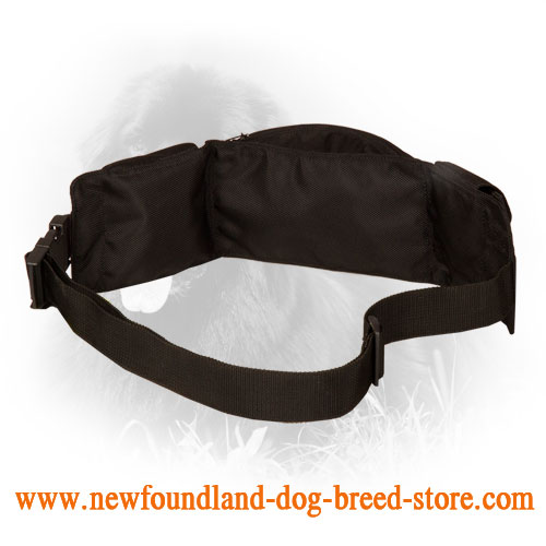 Nylon Dog Training Pouch with Pockets Full of Treats for Feeding Your Newfy