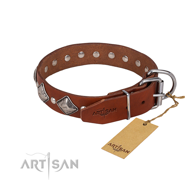 Tough leather dog collar with corrosion-resistant hardware