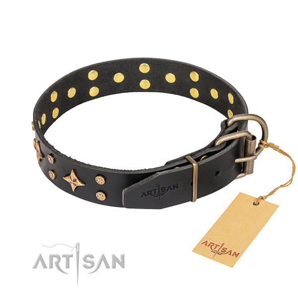 Daily use full grain leather collar with decorations for your pet