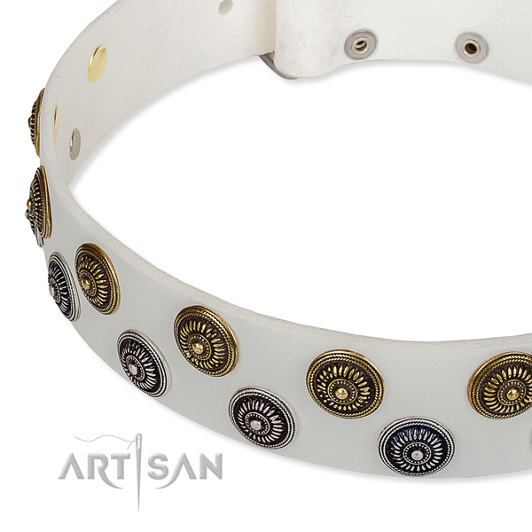 Genuine leather dog collar with extraordinary decorations