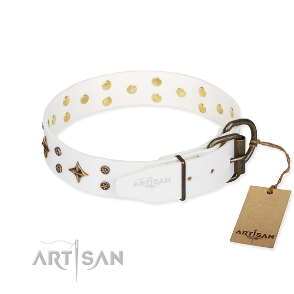 Everyday use natural genuine leather collar with decorations for your canine