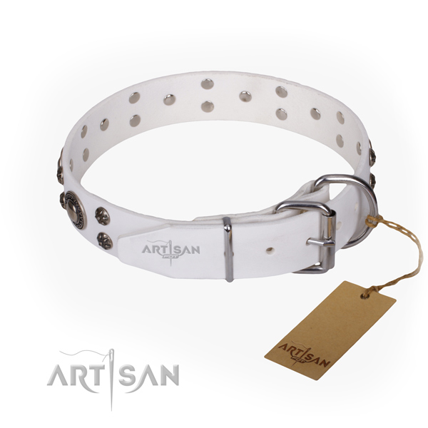 Everyday walking natural genuine leather collar with decorations for your doggie