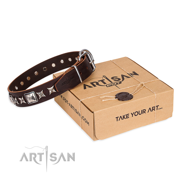 Studded natural genuine leather dog collar for easy wearing