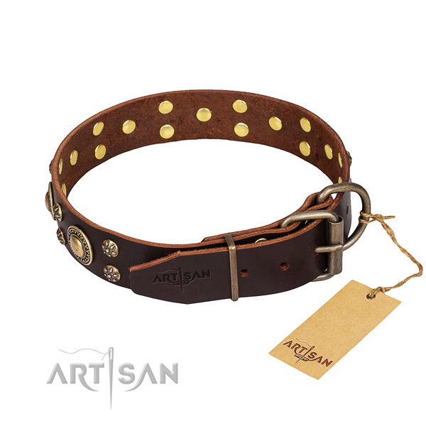 Daily use full grain natural leather collar with decorations for your pet