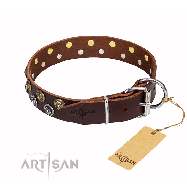 Handy use full grain leather collar with decorations for your pet