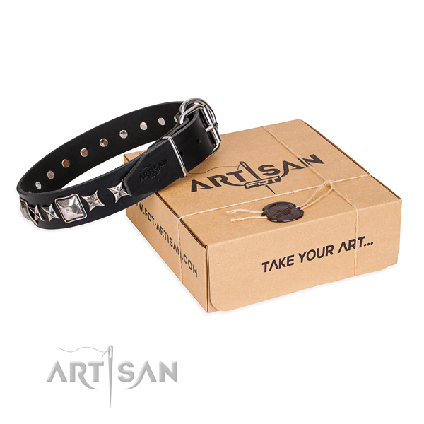Studded full grain leather dog collar for easy wearing