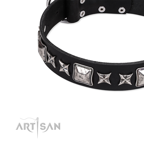 Leather dog collar with embellishments for easy wearing