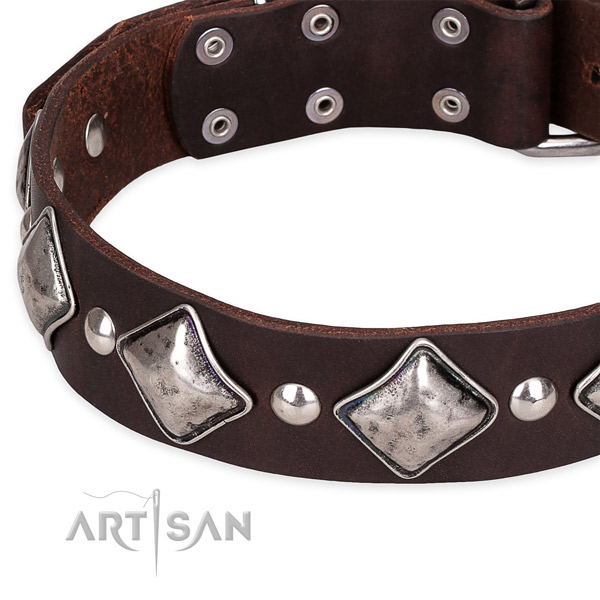 Snugly fitted leather dog collar with extra strong rust-proof hardware