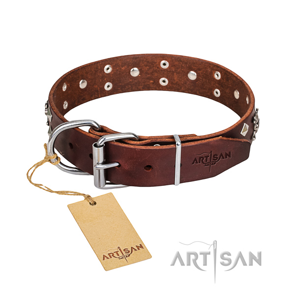 Strong leather dog collar with non-corrosive hardware